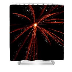 Shower Curtain featuring the photograph Red Fireworks #0699 by Barbara Tristan
