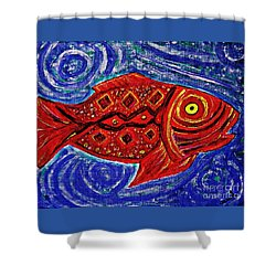 Red Fish Shower Curtain by Sarah Loft