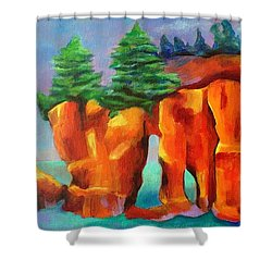 Red Fjord Shower Curtain by Elizabeth Fontaine-Barr