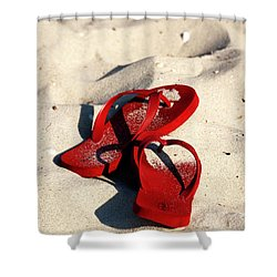 Shower Curtain featuring the photograph Red Flip Flops by John Rizzuto