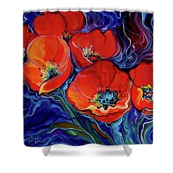 Red Floral Abstract Shower Curtain by Marcia Baldwin