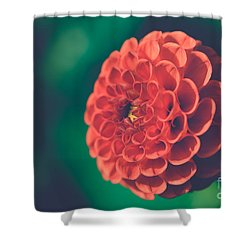 Red Flower Against Greenery Shower Curtain