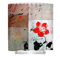 Shower Curtain featuring the painting Red Flower by Carolyn Repka
