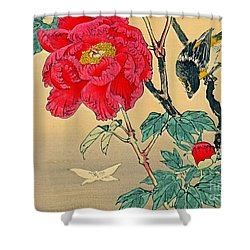 Red Flower With Bird 1870 Shower Curtain by Padre Art