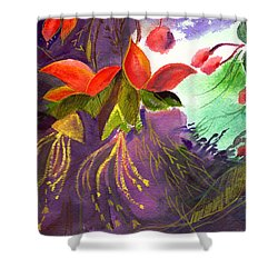 Red Flowers Shower Curtain by Anil Nene