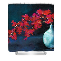 Shower Curtain featuring the painting Red Flowers by Frances Marino
