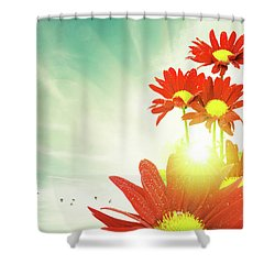 Shower Curtain featuring the photograph Red Flowers Spring by Carlos Caetano