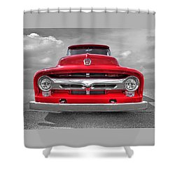 Red Ford F-100 Head On Shower Curtain