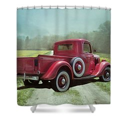 Shower Curtain featuring the photograph Red Ford Pick-up by Robin-Lee Vieira