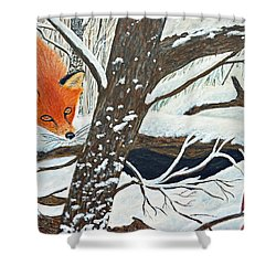 Red Fox And Cardinal Shower Curtain