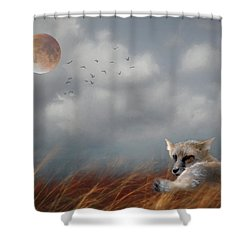 Red Fox In The Moonlight Shower Curtain