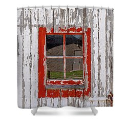 Red-framed Window Shower Curtain