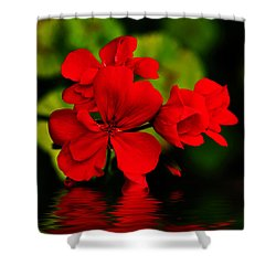 Red Geranium On Water Shower Curtain