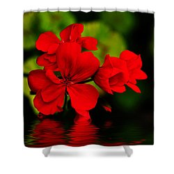 Red Geranium On Water Shower Curtain by Kaye Menner