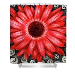 Red Gerbera Daisy Drawing Shower Curtain