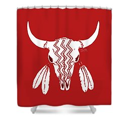 Red Ghost Dance Buffalo Shower Curtain by Steamy Raimon