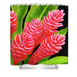Red Ginger Flowers #235 Shower Curtain by Donald k Hall