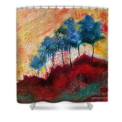 Red Glade Shower Curtain by Elizabeth Fontaine-Barr