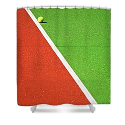 Red Green White Line And Tennis Ball Shower Curtain by Silvia Ganora