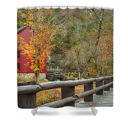 Red Grist Mill Front Entrance Shower Curtain
