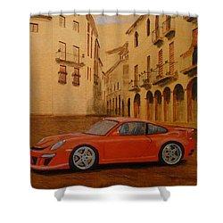 Red Gt3 Porsche Shower Curtain