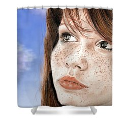 Red Hair And Freckled Beauty Version II Shower Curtain by Jim Fitzpatrick