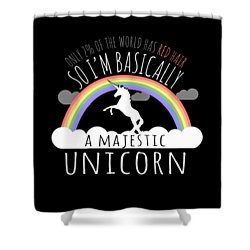 Red Hair Majestic Unicorn Funny Redhead Shower Curtain