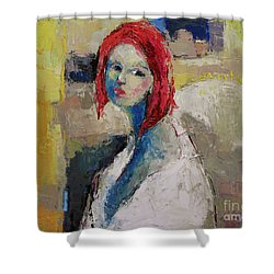 Red Haired Girl Shower Curtain by Becky Kim