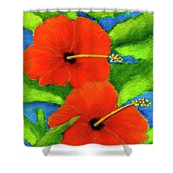 Red Hawaii Hibiscus Flower #267 Shower Curtain by Donald k Hall