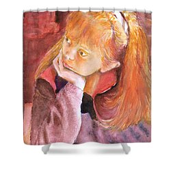 Red Head Beauty Shower Curtain