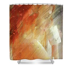 Red Head Drinking Coffee Shower Curtain by Andrea Barbieri