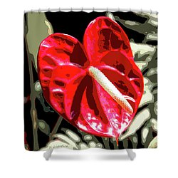 Shower Curtain featuring the digital art Red Heart by Kerri Ligatich