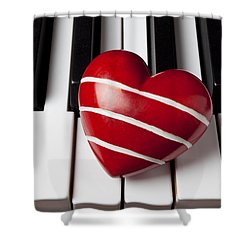 Red Heart With Stripes Shower Curtain by Garry Gay