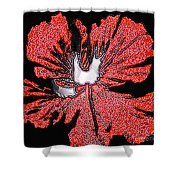 Red Hibiscus Flower In Three Dimensions Shower Curtain by Merton Allen