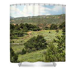 Red Hiking Trail Shower Curtain