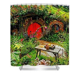 Red Hobbit Door Shower Curtain by Kathy Kelly