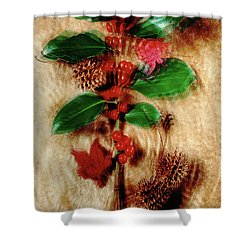 Red Holly Spinning Shower Curtain