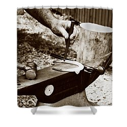Shower Curtain featuring the photograph Red Hot Horseshoe On Anvil by Angela Rath