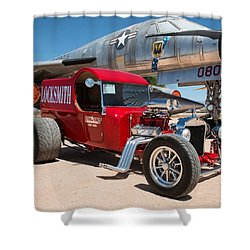Red Hot Rod Next To Vintage Airplane  Shower Curtain