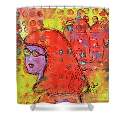 Shower Curtain featuring the painting Red Hot Summer Girl by Claire Bull