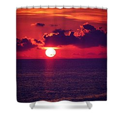 Red Hot Sun Set #peace Shower Curtain