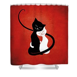 Red Hugging Love Cats Shower Curtain