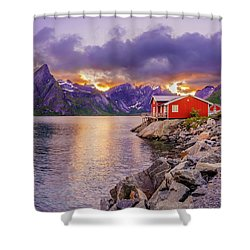 Shower Curtain featuring the photograph Red Hut In A Midnight Sun by Dmytro Korol