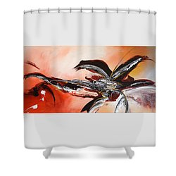 Red Ikebana Shower Curtain