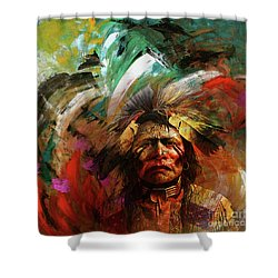 Red Indians 02 Shower Curtain