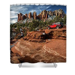 Red Jeep On The Rocks Shower Curtain