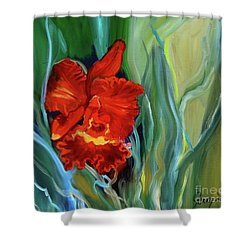 Red Jungle Orchid Shower Curtain
