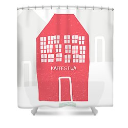 Shower Curtain featuring the mixed media Red Kaffestua- Art By Linda Woods by Linda Woods