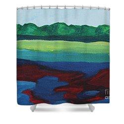 Red Lake Shower Curtain by Annette M Stevenson