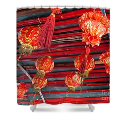 Shower Curtain featuring the photograph Red Lanterns 2 by Randall Weidner